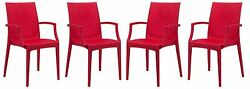 LeisureMod  Weave Design Mace IndoorOutdoor Chair With Arms in Red Set of 4