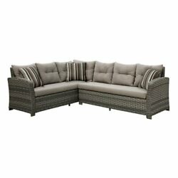 Furniture of America Callen Patio Faux Rattan Sectional Set in Gray