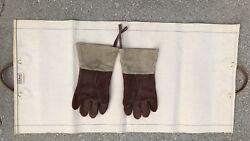 Vintage LL Bean Canvas and Leather Firewood  Log Carrier & Fireplace Gloves
