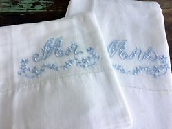 Vintage Pair of MrMrs Matching Pillow Cases Cotton Silk Embroidery Floral