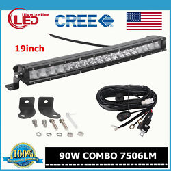 19INCH 90W CREE LED CURVED SLIM SINGLE ROW LIGHT BAR WORK LAMP WITH WIRE HARNESS $35.89