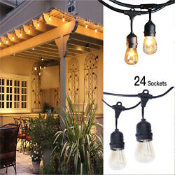 4Pack 48FT Outdoor Waterproof Commercial Grade Patio String Lights Bulbs