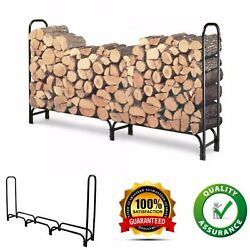 8 Feet Fireplace Firewood Log Holder Rack Outdoor Tubular Steel Wood Holder New