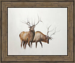 Ashton Wall Décor LLC Wildlife and Lodge 'Two Elk' Framed Painting Print