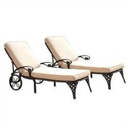 Home Styles Biscayne Black Chaise Lounge Chairs Set of 2 Taupe Cushions