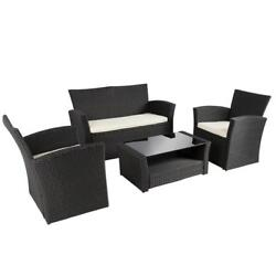 4-Piece Wicker Sofa Set With Glass Table Outdoor Luxury Patio Furniture NEW