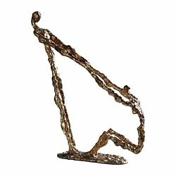 Abstract Gold Metal Helping Hand Sculpture  Reach Pull Modern $129.80