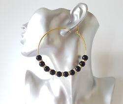 Gorgeous large 8cm gold tone - black bead & diamante big hoop earrings