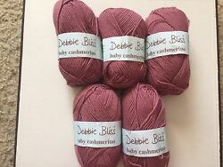 5 SKEINS-DEBBIE BLISS BABY CASHMERINO - COLOR #36 LOT 45B--ROSEWOOD. 685 YARDS