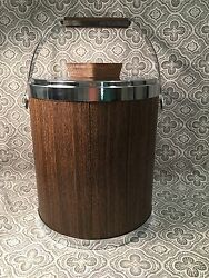 Vtg Woodgrain Walnut & Chrome Kromex 1960 Ice Bucket Large 10 12 X 8 12