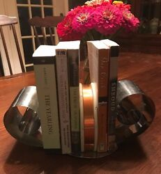 Vintage Art Deco Metal Curls Copper BandWood Bookends FREE shipping