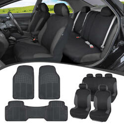 Car SUV Seat Covers for Auto & Heavy Duty Rubber Floor Mats - Full Interior Set