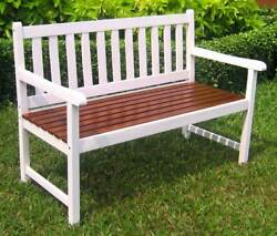 4-Foot Painted Wooden Garden Bench in White [ID 3185289]