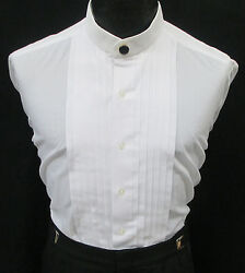 Boys Size White Banded Mandarin Collar Pleated Front Tuxedo Shirt amp; Button Cover $4.95