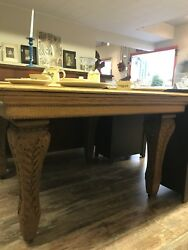 Solid Oak Handcraved Antique Table $450.00