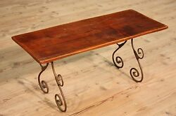 LOVELY BENCH SMALL TABLE WOOD IRON FORGED ITALY PERIOD '900 (L 39 38in)