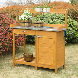 Outdoor Potting Garden Bench Wood Table Storage Plant Outside Wooden Metal Top