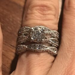 Tacori Classic Crescent Hearts On Fire Wedding Engagement Rings 18 Kt 3.05 Carat