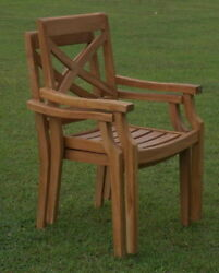 Qty 2 Granada Grade-A Teak Wood Dining Stacking Arm Chair Pair Outdoor Furniture