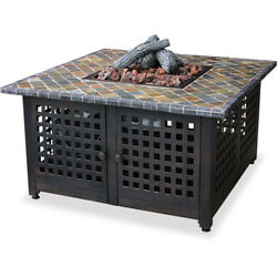 Patio Fire Pit Square Gas Fireplace Table With Slate Mantel Outdoor Backyard NEW