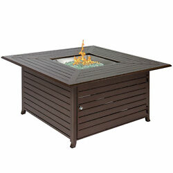 Patio Gas Fire Pit Heater Extruded Aluminum Outdoor Table With Cover Backyard