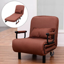 Convertible Sleeper Chair Bed Folding Arm Chair Recliner Lounge Chaise Brown