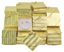 100pc Gift Boxes Gold Boxes Cotton Filled Jewelry Boxes Wholesale Box FREE Bows $53.36