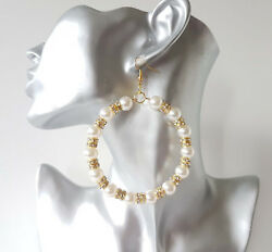 Beautiful large pearl bead & diamante GOLD tone hoop drop earrings *NEW*