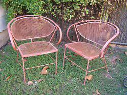 VINTAGE MID CENTURY SALTERINI CLAM SHELL WROUGHT IRON OUTDOOR PATIO CHAIRS