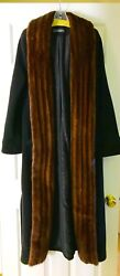 COUTURE BLACK Cashmere coat with a Tuxedo Mink collar size 10