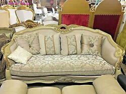 Italian Style Light GrayGold Living Room Sofa in Carved Frame With Pillows- 90
