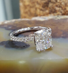 2.50 Ct Cushion Cut Diamond w Under Halo Pave Engagement Ring K SI1 GIA Plat