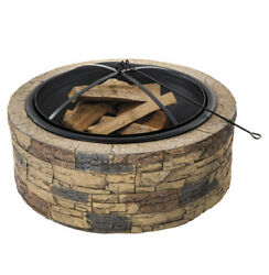 Portable Wood-Burning Fully Enclosed Fire Pit Bowl in Brown Stone Patio Heater