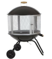 Portable Wood-Burning Fire Pit in Black Steel Patio Heater Porcelain Enamel Bowl