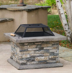 Firewood Wood-Burning Fire Pit Natural Stone Cement Patio Heater Outdoor Warmer
