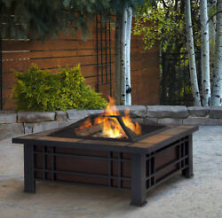 33.6-in Seasoned Firewood Wood-Burning Fire Pit Black Steel Outdoor Heater NEW
