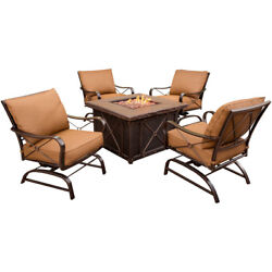 Hanover Stone Harbor 5 Piece Fire Pit Lounge Seating Group with Cushion
