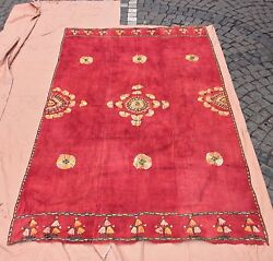 ANTIQUE ORIGINAL HANDMADE ASIAN PAKISTAN COTTON AND SILK MIXED TEXTILE