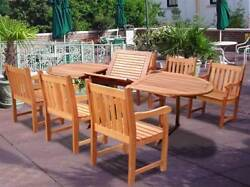 Oval Extension Table & Wood Armchair Outdoor Dining Set [ID 129172]