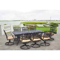 9 Piece Patio Dining Set Weather Resistant Sturdy Table 8 Swivel Rocking Chairs