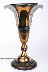 Chic Copper And Glass Art Deco Urn Lamp