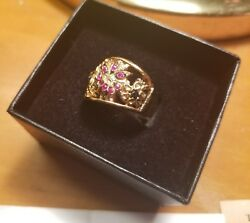 Chateau D' Argent Ruby Emerald Sapphire & Gold filigree ring gorgeous flowers