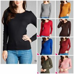 Women Thermal Crew Neck Long Sleeve Basic Top T-Shirt Solid Plain Waffle(S-3XL)
