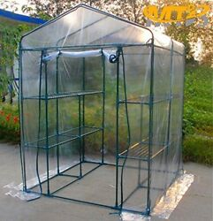 MTB Outdoor Walk-In Portable Greenhouse with 2 Tiers 8 Shelves - 56Lx56Wx77H