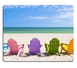 Liili Natural Rubber Mouse Pad Adirondack Beach Chairs on a Sun Beach in front o