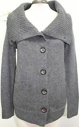 LABEL THREAD Gray Wool & Cashmere Blend Oversized Collar Sweater Sz Small