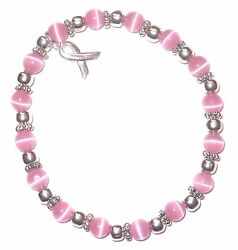 Stretch Breast Cancer Awareness Bracelet 6mm Pink Fits most adults Packaged