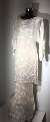 Vintage Holly Harp Blush Silk Chiffon Bat Wing Dress Long Tunic Skirt Dress Sz.M