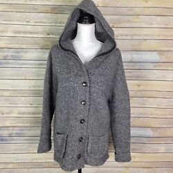 LABEL + Thread Large Lambswool Cashmere Hooded Heavy Cardigan Sweater Gray