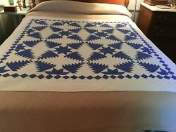 Judi Boisson Pineapple Log Cabin Quilt Hand Stitched Name~Date 1991 Navy~White
